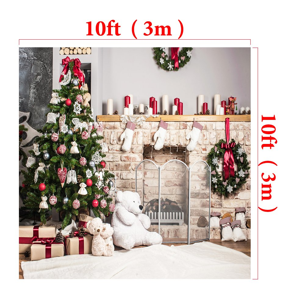 Kate 10x10ft Christmas Backdrop Fireplace Christmas Tree Backdrops Party Decoration Background