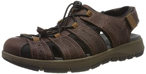 6c642985d12 Clarks Men s Brixby Cove Dark Brown Lea Leather Sandals-6 UK India (39.5