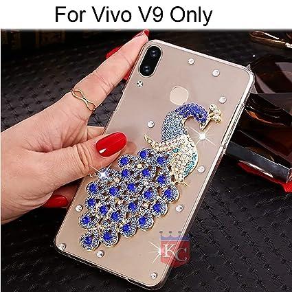 new style 46f52 e8fae KC Luxury Diamond Studs Gold Peacock Case Soft Transparent Back Cover for  Vivo V9 & Vivo V9 Youth - Blue