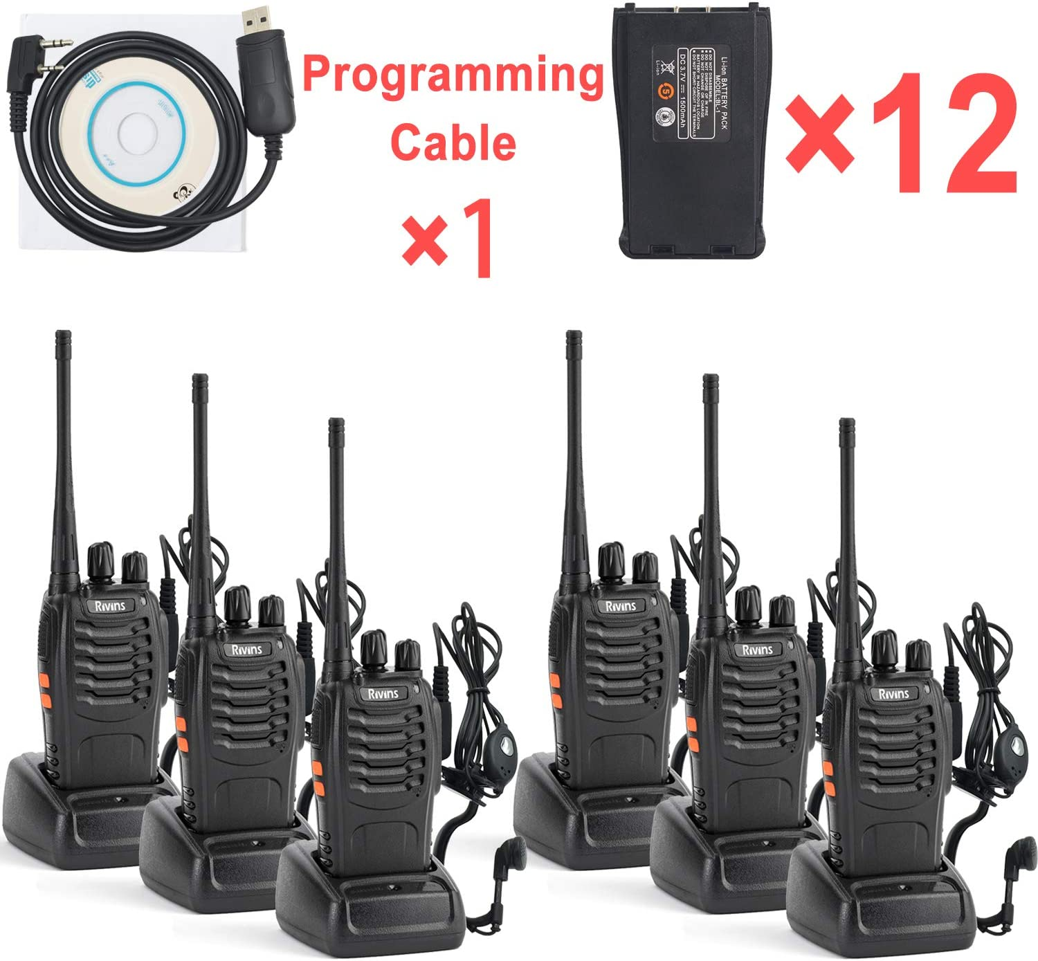 Rechargeable Walkie Talkies for Adults Long Range 6 Pack 2-Way Radio Up to 5 Miles Range in Open Field 16 Channel FRS/GMRS Walkie Talkies with Programming Cable and 12 Li-ion Batteries