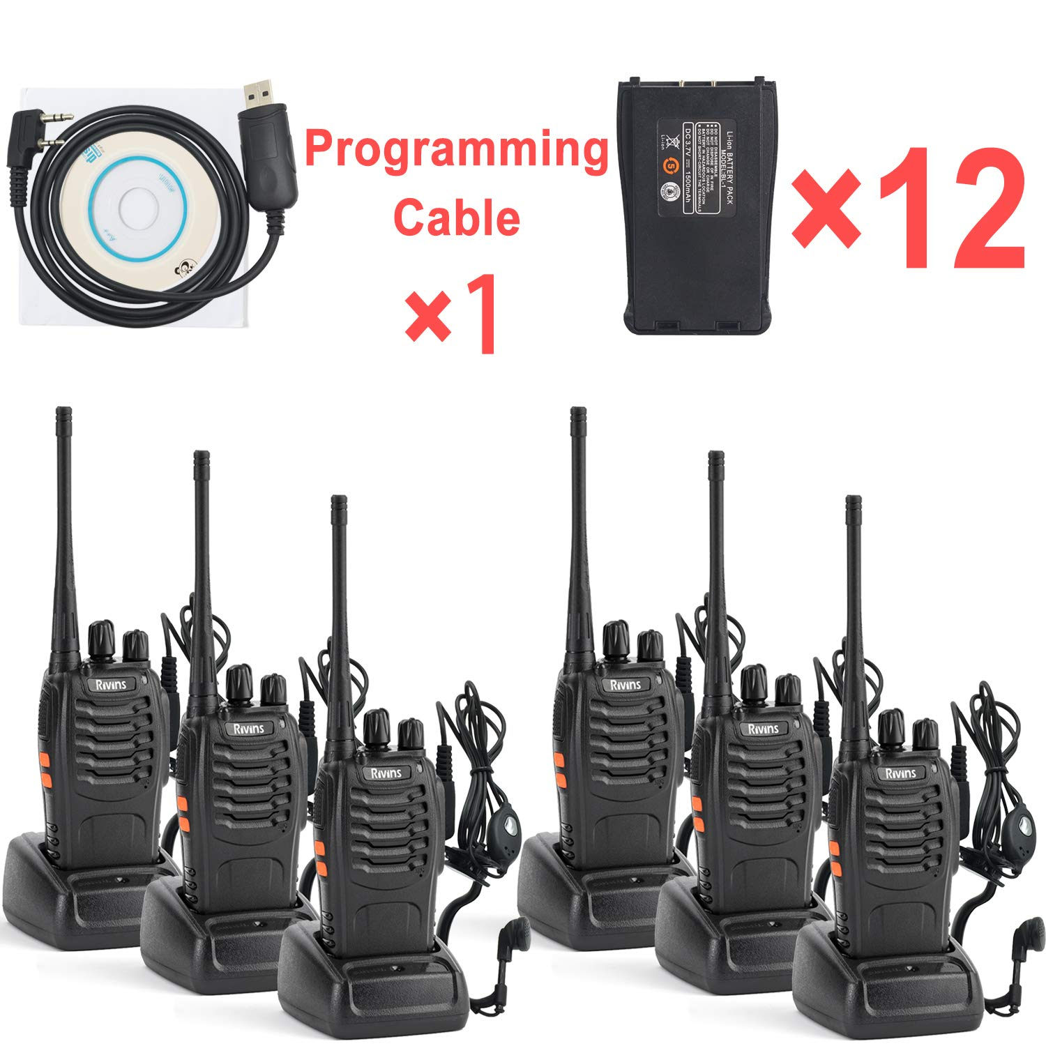 Radio Walkie Talkies Long Range Set 6 Pack Rechargeable for Adults – Two-Way Radios with Programming Cable and Earpiece – 1 More Extra Battery for Each Radio