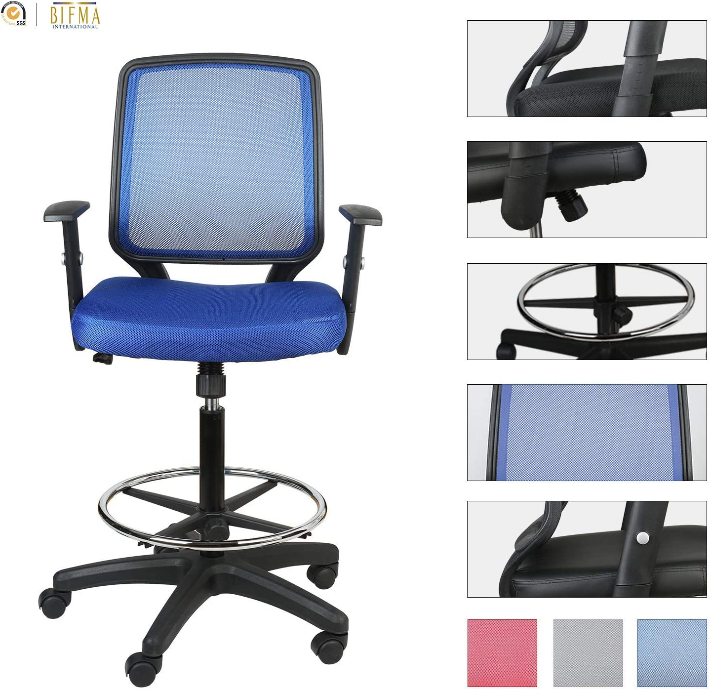 LUCKWIND Office Drafting Chair Mesh – Adjustable Arm Task Ergonomic Lumbar Support Mid Mesh Back Computer Desk Chair Swivel Chair with Adjustable Chrome Foot Rest Big and Tall Tilt SGS-BIFMA Blue