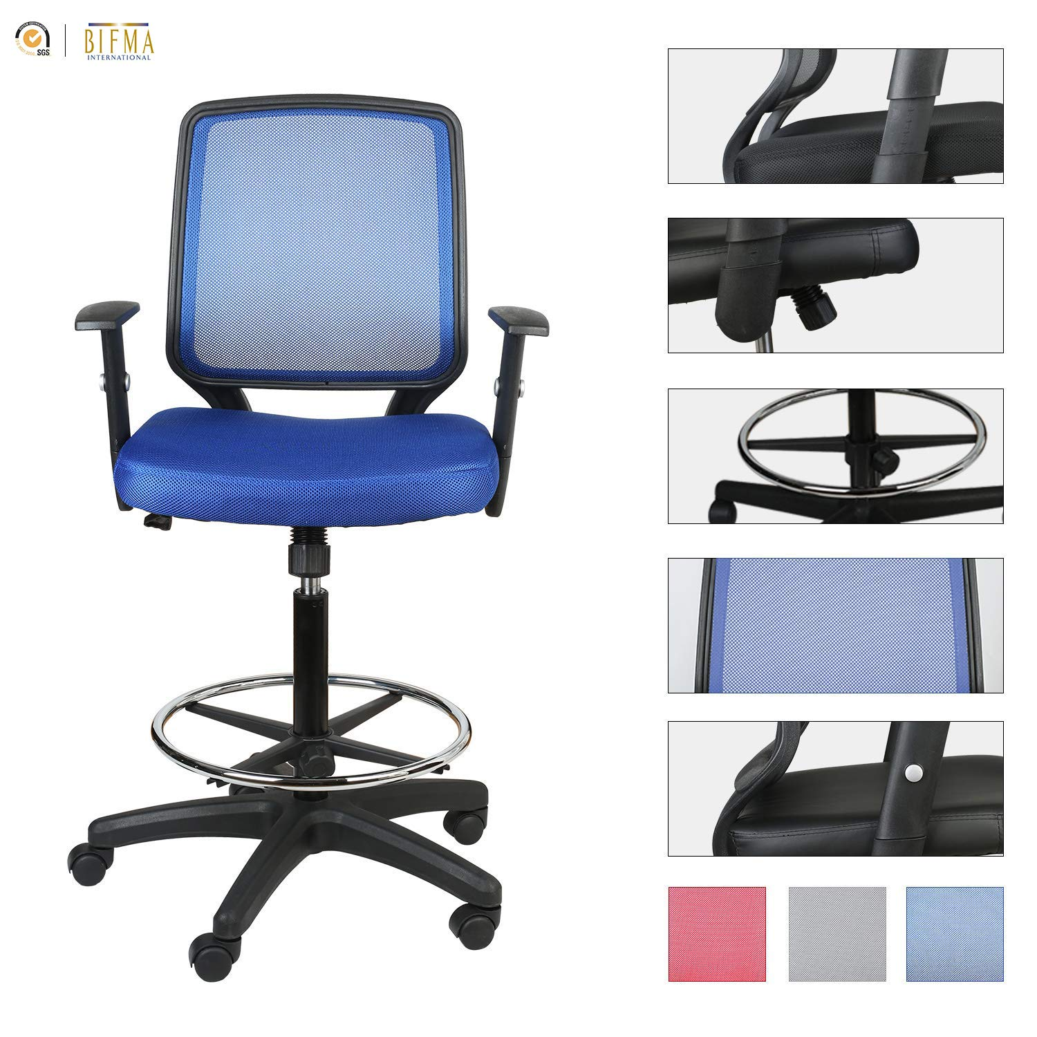 LUCKWIND Office Drafting Chair Mesh - Adjustable Arm Task Ergonomic Lumbar Support Mid Mesh Back Computer Desk Chair Swivel Chair with Adjustable Chrome Foot Rest Big and Tall Tilt (SGS-BIFMA Blue) by Sundux