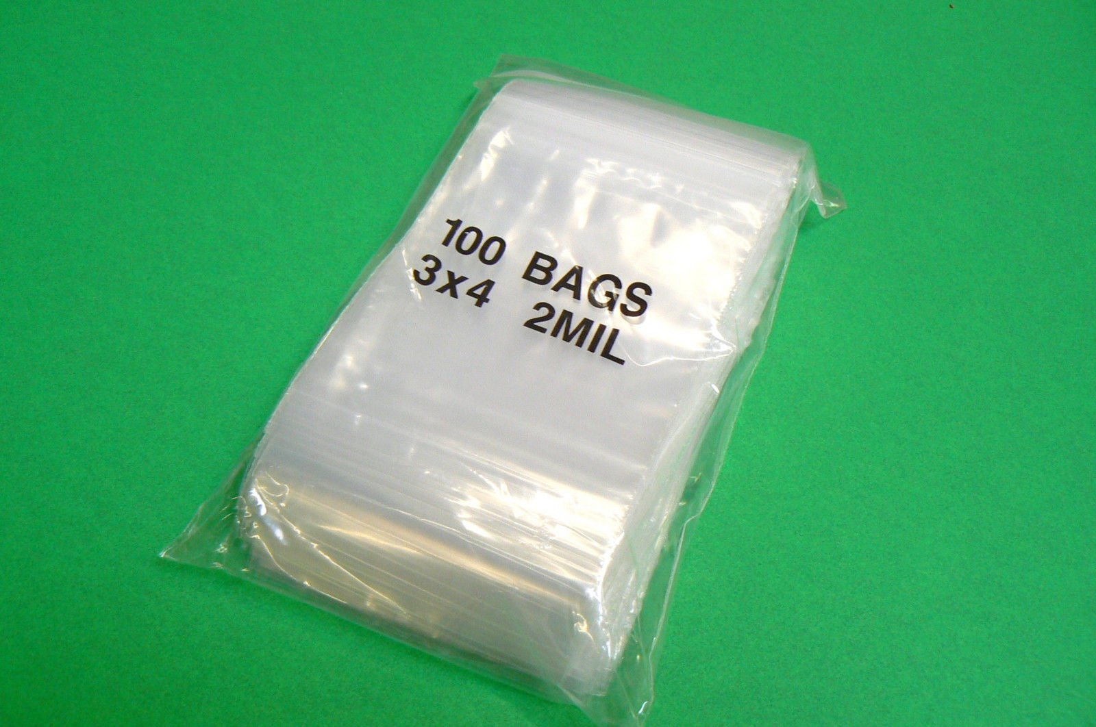 100 ZIPLOCK Bags 3x4 Clear Poly BAG RECLOSABLE 100 Baggies 2Mil 3''x4'' ZIP LOCK (E 3)