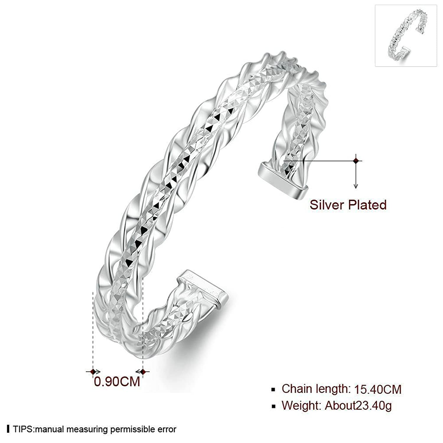 Aokarry Bangle Bracelet Silver Plated Womens Charm Bracelet Bangle for Girls Silver Cubic Zirconia