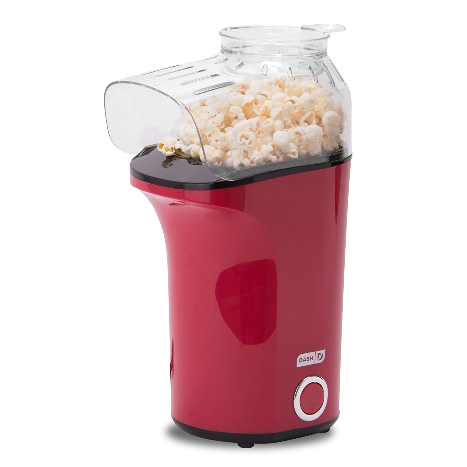 DASH Popcorn Machine: Hot Air Popcorn Popper + Popcorn Maker with Measuring Cup to Measure Popcorn Kernels + Melt Butter - Red