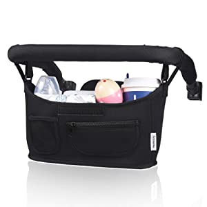 Momcozy Universal Stroller Organizer with Insulated Cup Holder, Fits for Stroller Like Uppababy, Baby Jogger, Britax, Bugaboo, BOB, Umbrella and Pet Stroller