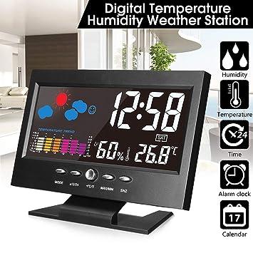 Leyeet Pantalla LCD a Color Calendario Coche Reloj Digital Termómetro para Coche Pronóstico del Tiempo: Amazon.es: Hogar