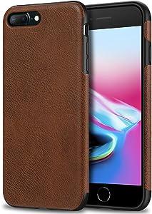 Bisikor iPhone 7 Plus Case/iPhone 8 Plus Case Leather Texture Design Slim Case for iPhone 7 Plus and iPhone 8 Plus (Brown)