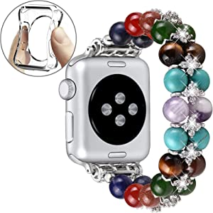 fastgo Chakras Beaded Band Compatible with Apple Watch 38mm Women 7 Healing Yoga Natural Stones Stretch Bracelet Jewelry Relax Anxiety Strap Gift for Iwatch SE Series 6 5 4 3 2 1 Silver 38mm/40mm