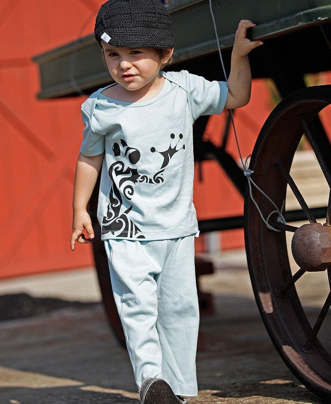 Ruggedbutts Baby-boys Funky Frog Knit Pants Light Blue