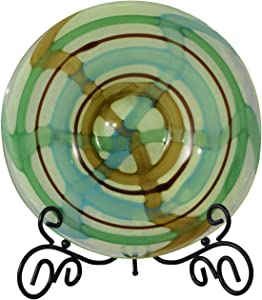 Dale Tiffany PG80161 Art Glass Charger Plate with Stand from La Mesa Collection in Bronze/Dark Finish, 13.00 inches, 13-Inch Diameter, Multicolor