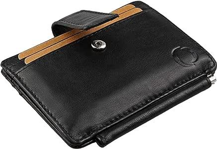 con Monedero Cartera Hombre peque/ña Color Negro 6 Ranuras para Tarjetas Visor para DNI o Foto Compartimento para Billetes con Bolsillo Secreto
