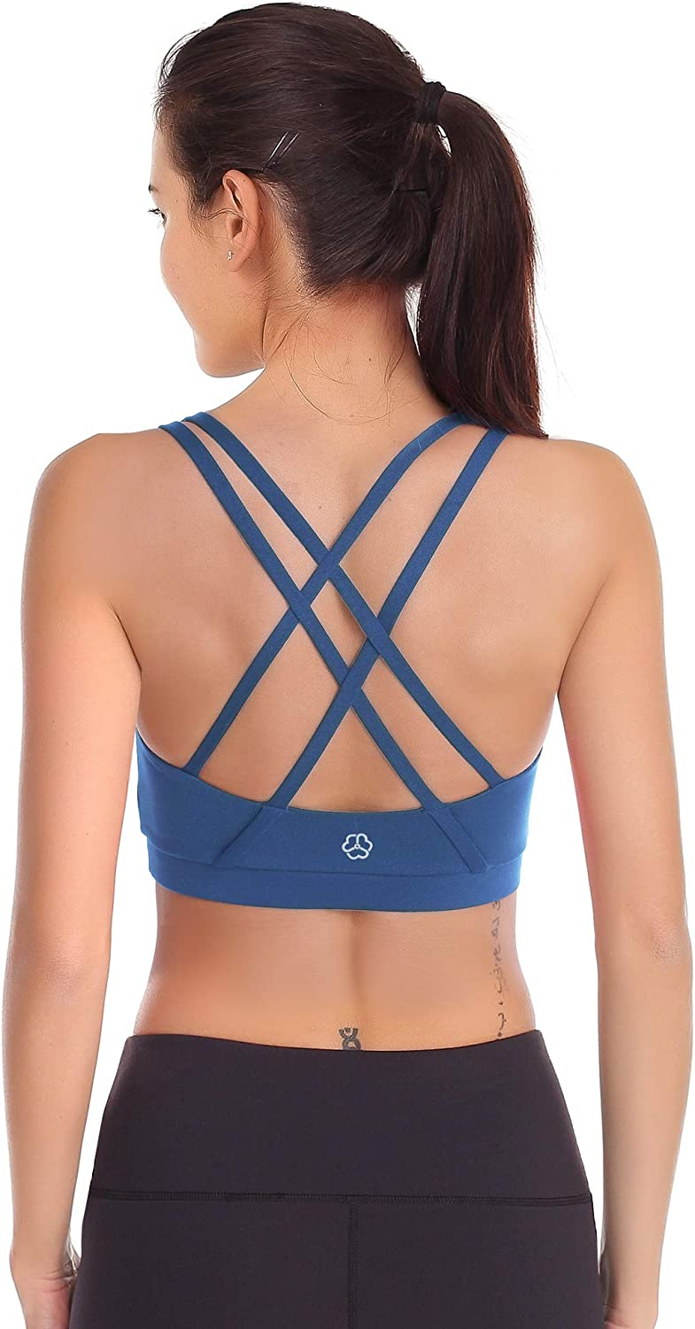 Padded Support Yoga Top High Impact Bust Fit Cross Back Sports Bras for Women