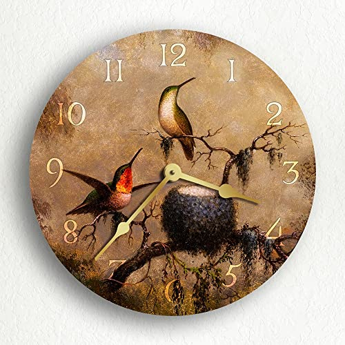 Classical Creations Hummingbirds and Their Nest 12 Silent Wall Clock