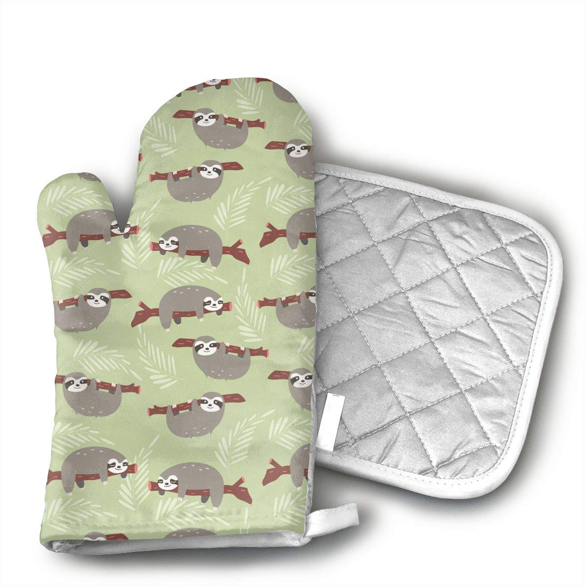 MEILVWEN Sloth Oven Mitt and Pot Holder Set,Heat Resistant for Cooking and Baking Kitchen Gift