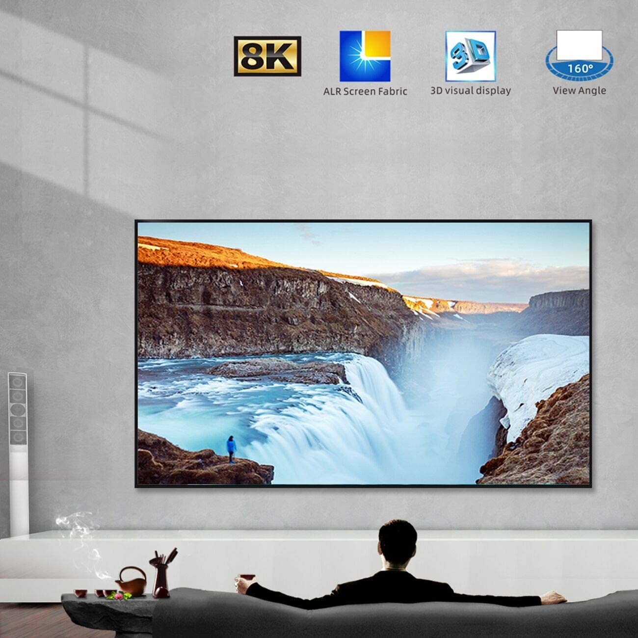 """SCREENPRO Projector Screen 120 inch Edge Free Fixed Frame Home Theater Screen 120"""" Diagonal 16:9 8K Ultra HD 3D Ready Light Rejecting Projector Screen (16:9, 120"""", Matte Silver,7mm Frame)"""