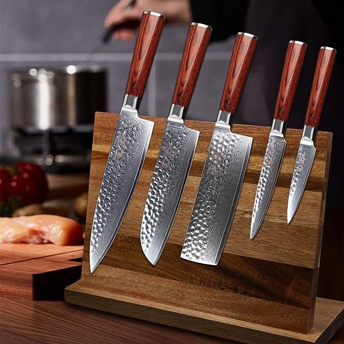 Compra YARENH Juego de Cuchillos de Cocina 5 Piezas, Set Cuchillos ...