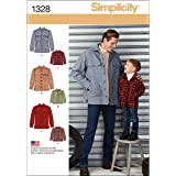 Simplicity Creative Patterns 1328 Boys' and Men's Shirt Jacket Sewing Patterns, Size A (S-L/S-XL)