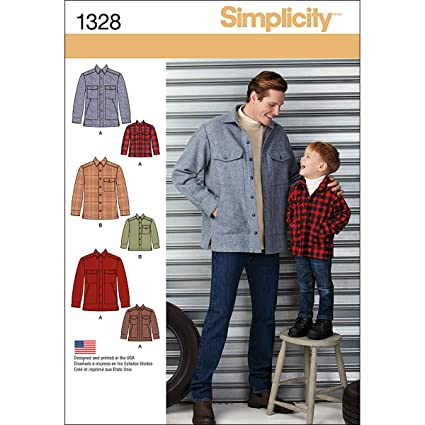 Amazon.com: Simplicity Creative Patterns 1328 Boys\' and Men\'s Shirt ...