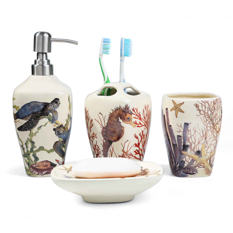 FORLONG FL3014 Sea Turtle Seahorse Sea Coral Starfish Ceramic Bathroom Accessories Set of 4:1 Gargle Cups,1 Toothbrush Holders,1 Soap Dishes,1 Soap Dispenser
