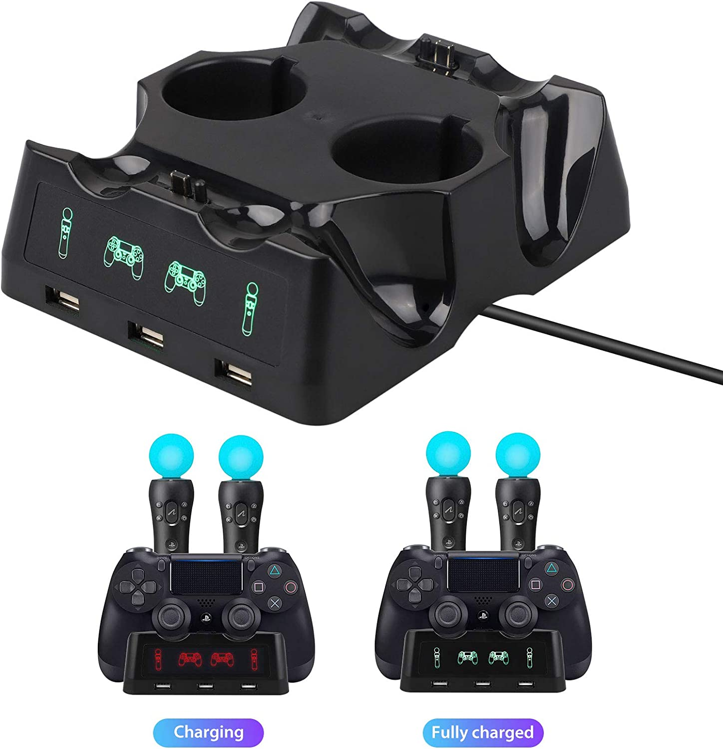 4 USB Charging Station with LED Indicator 4 in 1 Charging Dock Station Desk Charging Station for Playstation PS4 PSVR VR Move AITOO Charging Dock Station for Two PS4//PSVR//Move Motion Controllers