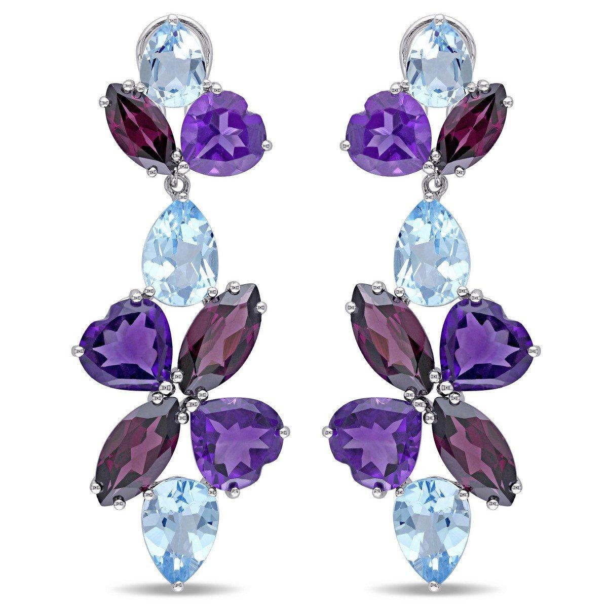 Sterling Silver 35ct TGW bluee Topaz Rhodlite Amethyst Earrings