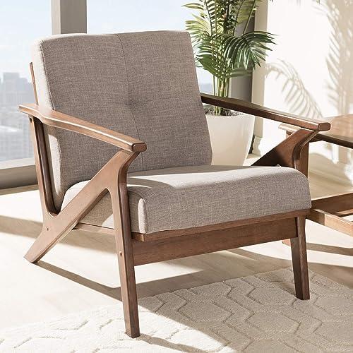 "Baxton Studio Bianca Mid-Century Modern Walnut Wood Light Grey Fabric Tufted Lounge Chair Mid-Century/Light Grey/Walnut Brown/Fabric Polyester 100 ""/Rubber Wood/"