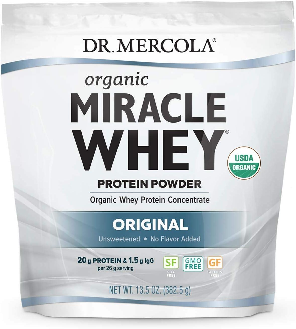 Dr. Mercola, Organic Miracle Whey Protein Power, 13.5 oz (382.5 g), Non GMO, Soy Free, Gluten Free, Non GMO, Soy-Free, Gluten Free, USDA Organic
