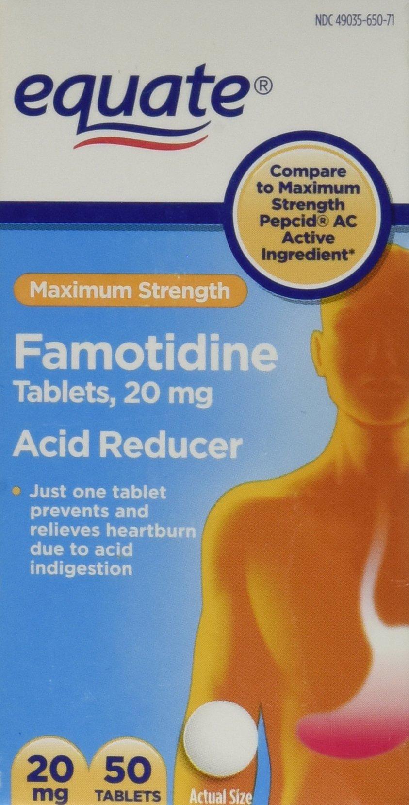 Equate Famotidine Acid Reducer Tablets 20mg, 50ct