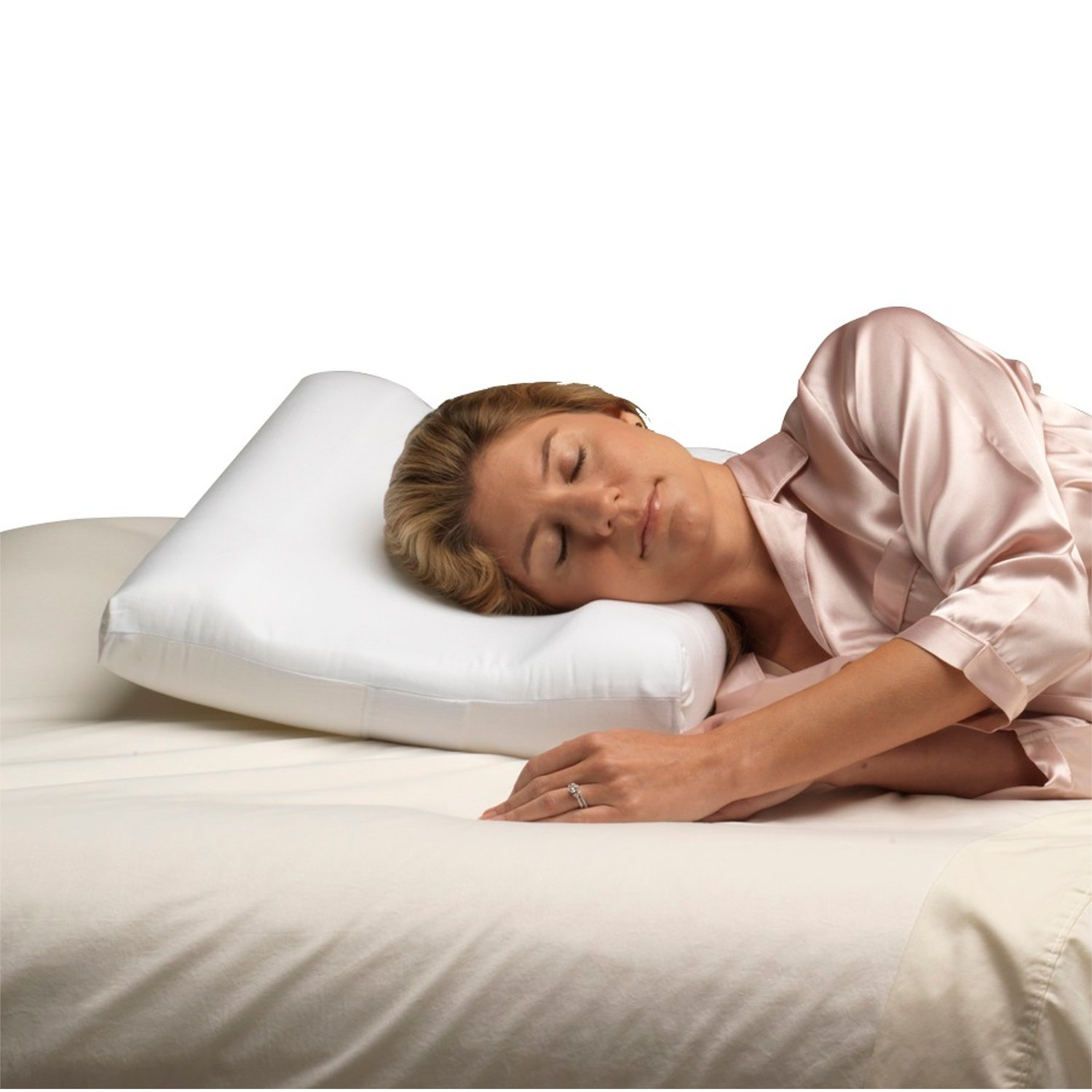Pcp Carved Foam Travel Size Cervical Pillow, White
