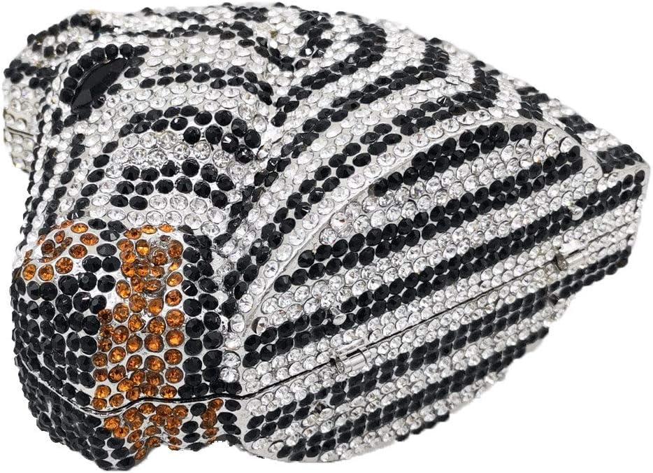 XLJJB Elegante Pochette E Borse da Sera Mini in Cristallo da Donna con Zebra E Testa di Cavallo Pochette Minaudiere da Festa Nuziale Gold 6