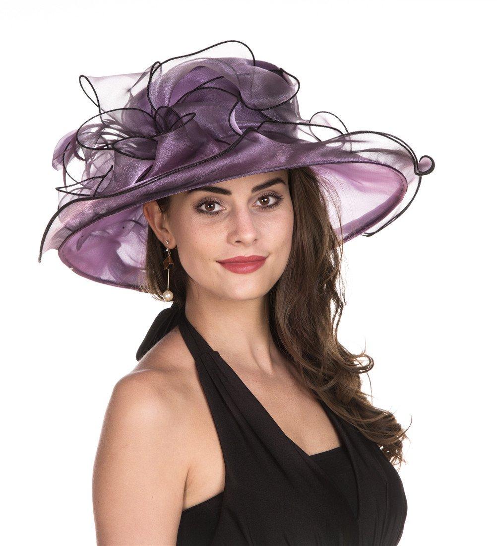 SAFERIN Lady Tea Party Kentucky Derby Church Wedding Dress Church Hat Bridal Shower (2431-Purple with Black Line)