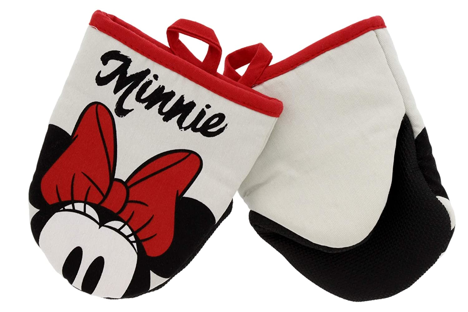 "Disney Kitchen Cotton Mini Oven Mitts/Glove Set w/Neoprene Insulation for Easy Gripping While Cooking, Heat Resistant Kitchen Accessories, 5.5"" x 6.5"", Minnie Light Grey Face, 2pk"