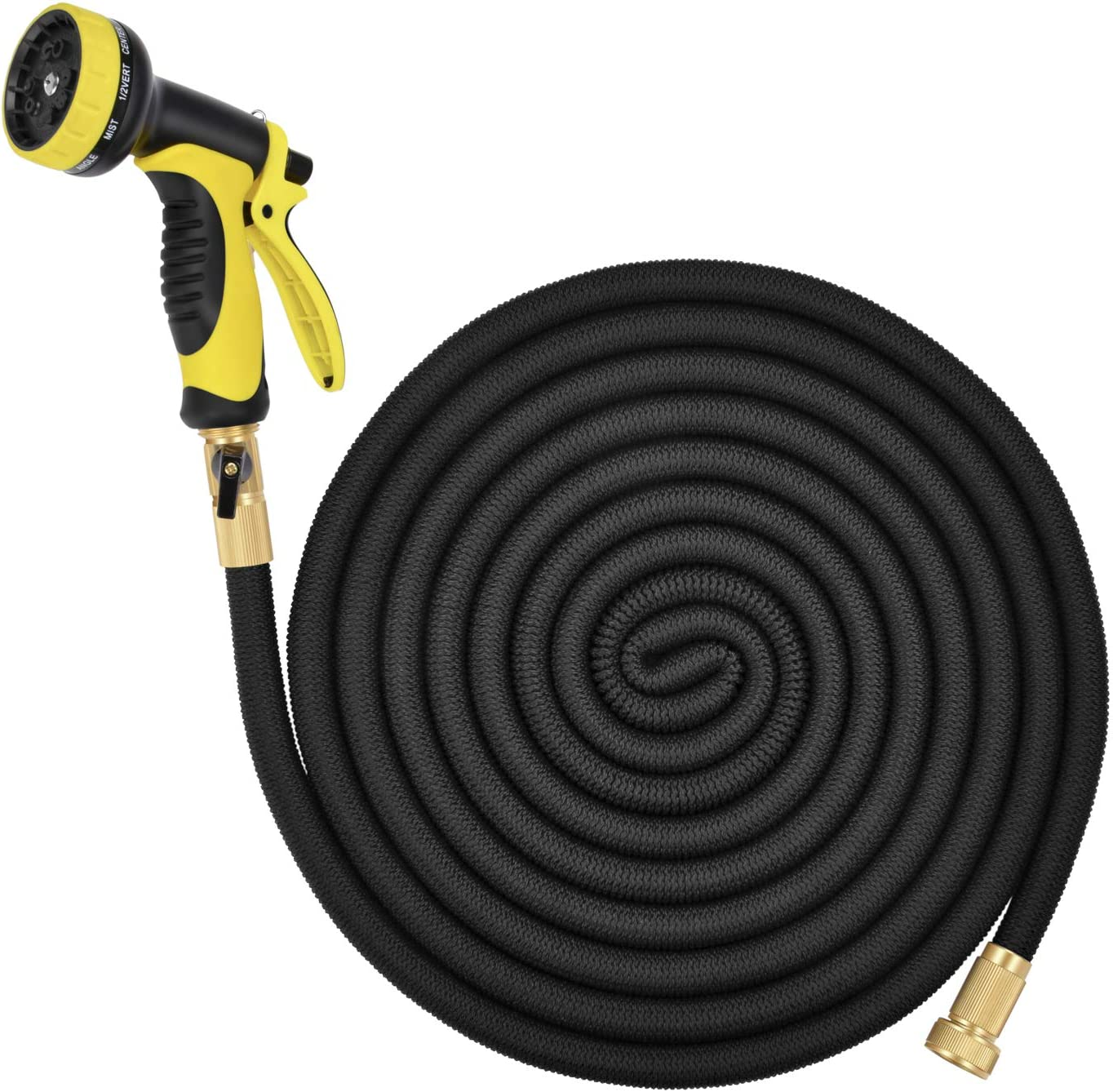 Lightweight Expandable Solid Brass Valve Connector Garden Hose with 10 Pattern Spray Nozzle - 100FT Black