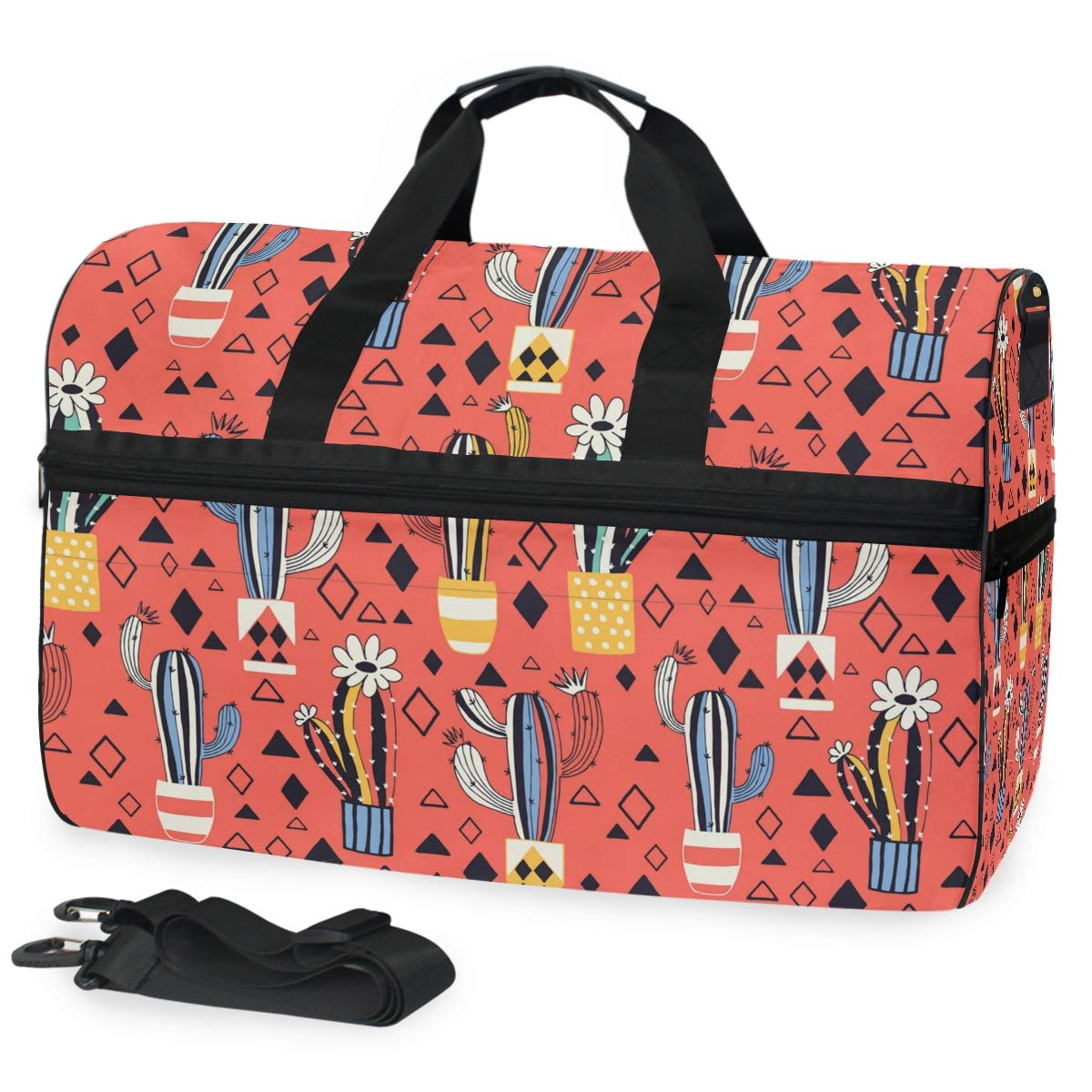 Diamond Cactus Red Background Large Travel Duffel Bag For Women Men Overnight Weekend Lightweight Luggage Bag