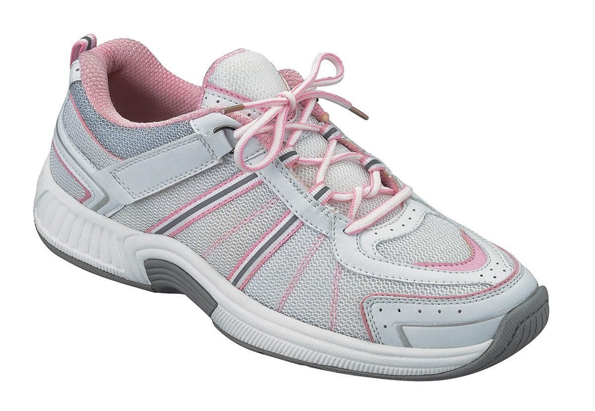 Orthofeet 916 Women's Comfort Diabetic Extra Depth Sneaker Shoe Leather-and-Mesh Lace - White and Pink -7.5 Medium (C) White/Pink Lace US Woman
