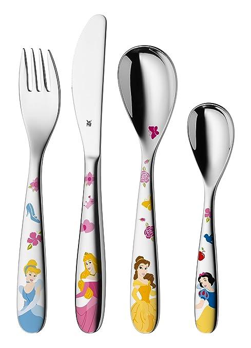 WMF Disney Princesas - Cubertería para niños 4 piezas (tenedor, cuchillo de mesa,