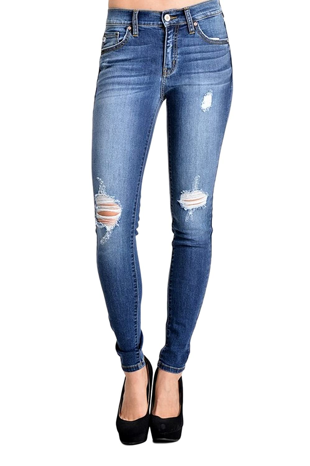Kan Can Women's Mid Rise Destroyed Skinny Jeans Dark Wash KC8228D