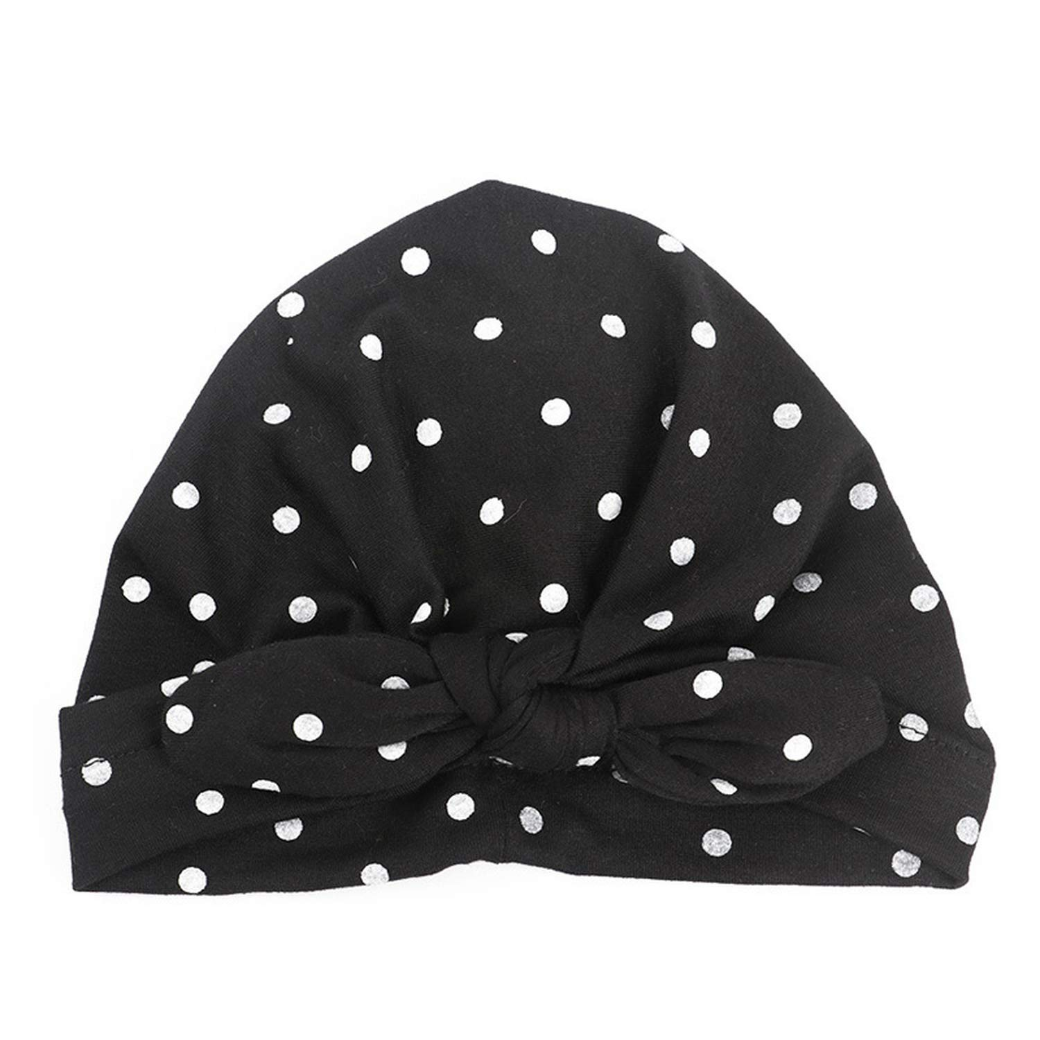 Sweet Dot Baby Girl Hat with Bow Candy Color Baby Turban Cap for Girls Elastic Infant Accessories 1 PC