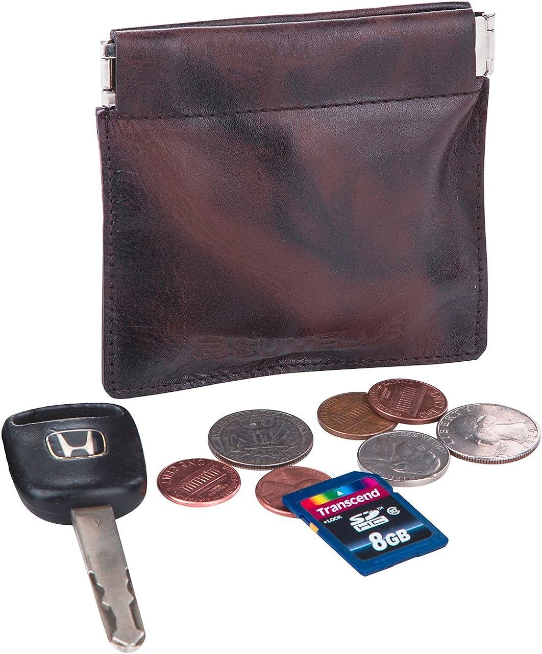 Suvelle de hombre piel auténtica fácil Squeeze moneda cambio Monedero titular de la clave dinero organizador cartera elegante regalo para hombres WS616