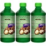 Piping Rock 100% Pure Virgin Macadamia Nut Oil 3 Bottles x 16 fl oz (473 mL) Bottle Cold Pressed with Omega 9
