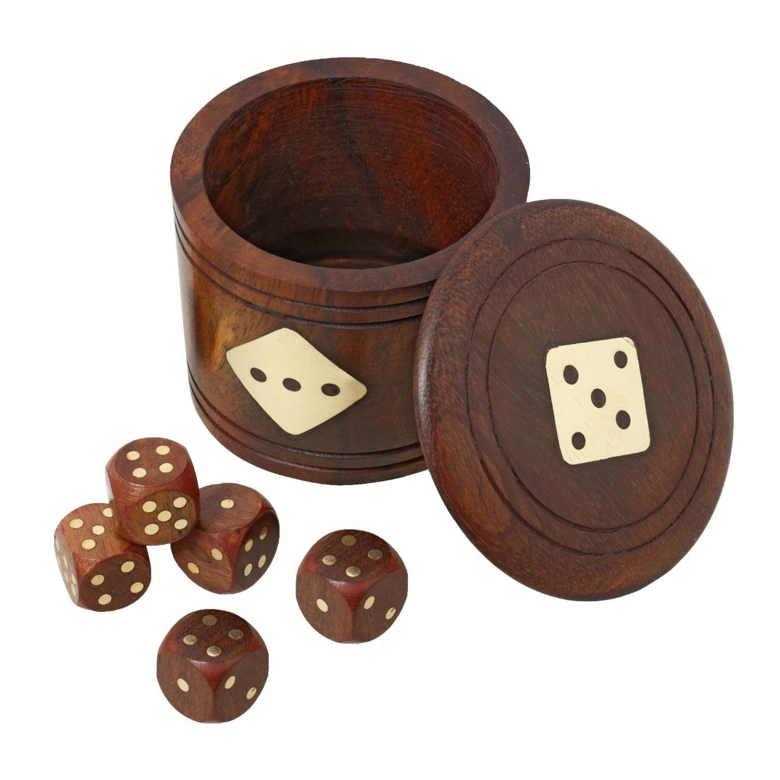 RoyaltyRoute Set of 12 Wooden Dice Shaker with Set of 5 Dice Deluxe Storage Case with Natural Finish
