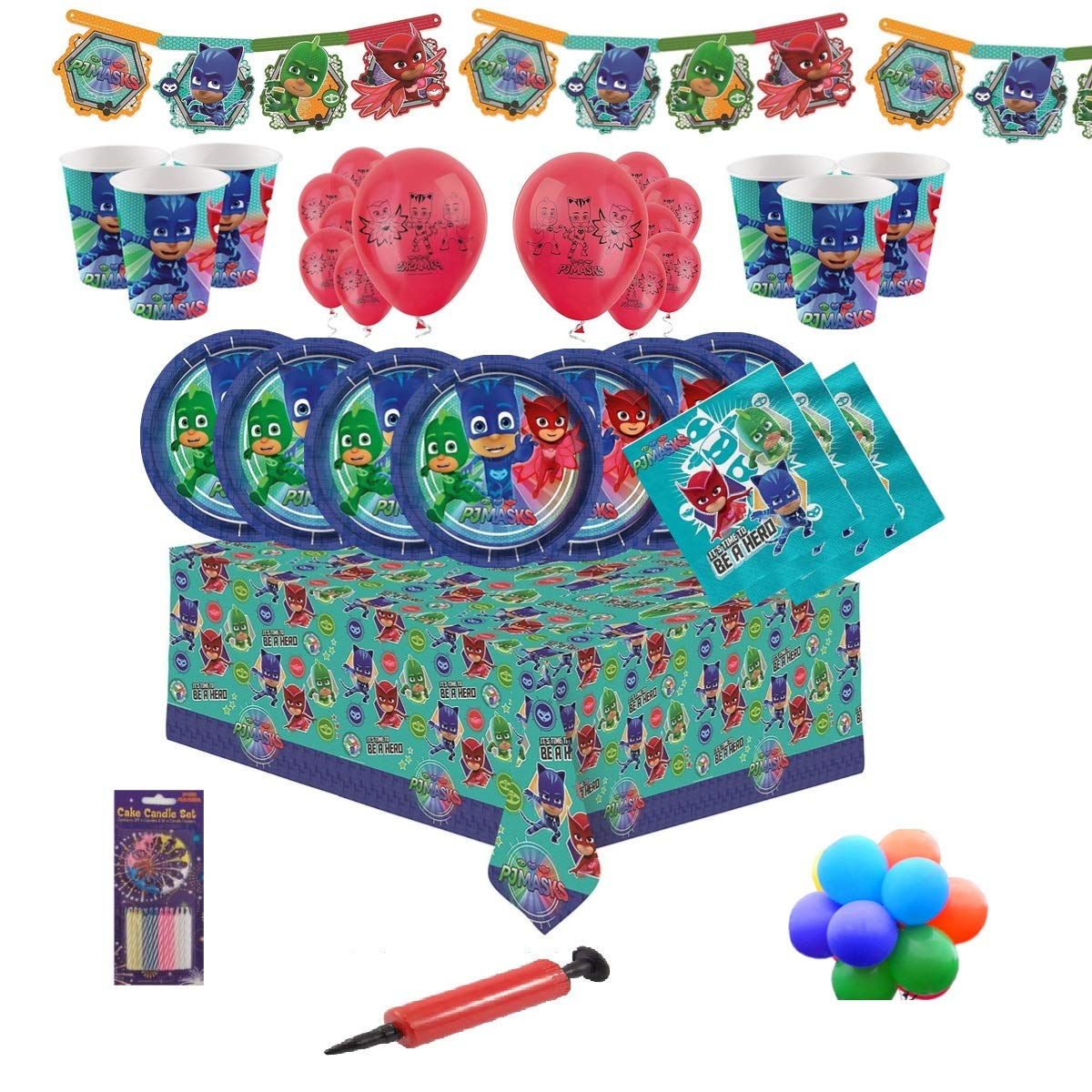 32 PJ Masks Party Vajilla Kit de fiesta infantil de cumplea/ños para 8 24 16 Globos y velas gratis