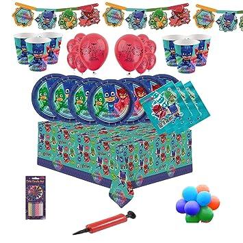 PJ MASKS Kit de fiesta de cumpleaños para niños vajilla para 8, 16, 24, 32 (globos y velas simples gratis) Kit PJ Party - 8