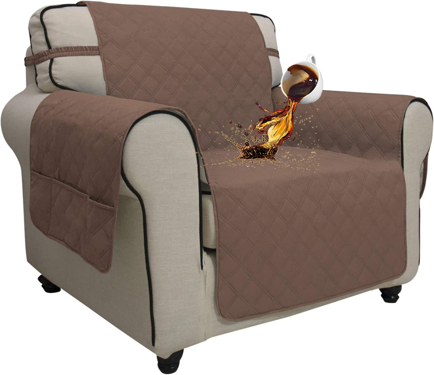 Easy-Going Sofa Slipcover Chair Cover Waterproof Couch Cover Furniture Protector Sofa Cover Pets Covers Seamless Whole Piece Non-Slip Fabric Pets Kids Children Dog Cat (Chair,Brown