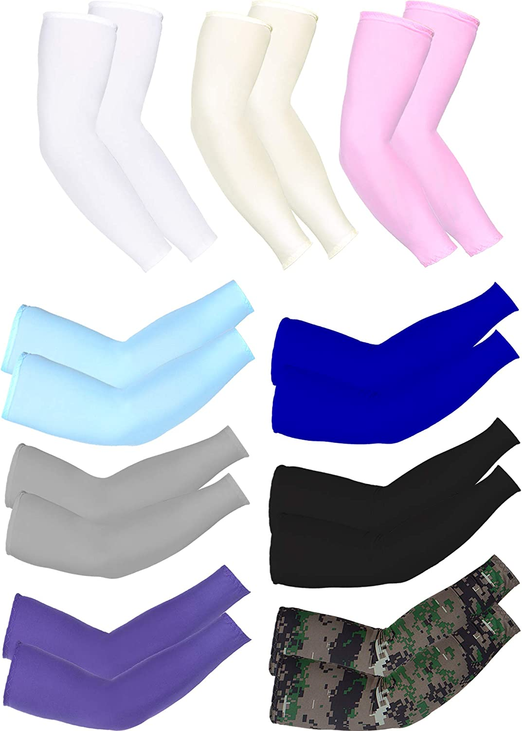 Mudder 9 Pairs Unisex UV Protection Sleeves Arm Cooling Sleeves Ice Silk Arm Sleeves Arm Cover Sleeves (White, Black, Gray, Sky Blue, Pink, Purple, Royal Blue, Camouflage, Yellow): Clothing
