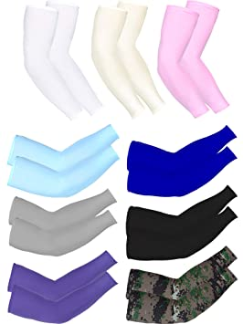 Bememo 9 Pairs Unisex UV Protection Sleeves Long Arm Sleeves Cooling Sleeves Ice Silk Arm Cover Sleeves White, Grey, Blue