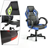 GreenForest Executive Racing Car Style Video Game Chair, Ergonomic Adjustable Swivel Armrest PU Leather Seat High Back For Home Office Desk, Blue
