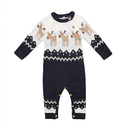 b1e967c06829 Amazon.com  Infant Toddler Baby Boy Girl Reindeer Christmas Romper ...